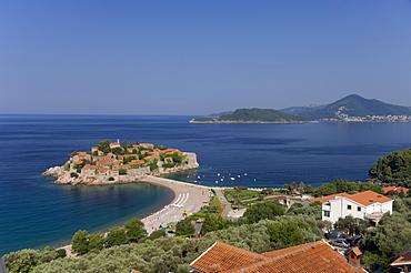 Sveti Stefan and Adriatic coastline, Montenegro, Europe