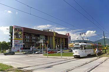 Tram and war damaged buildings, Sarajevo, Bosnia, Bosnia-Herzegovina, Europe