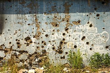War damaged building, Sarajevo, Bosnia, Bosnia-Herzegovina, Europe