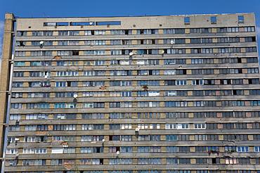 War damaged apartment block, Sarajevo, Bosnia, Bosnia-Herzegovina, Europe