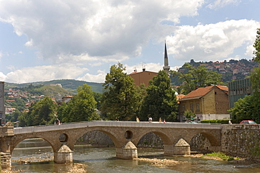 The Latin Bridge (Latinska cuprija), across the River Miljacka, Sarajevo, Bosnia, Bosnia-Herzegovina, Europe