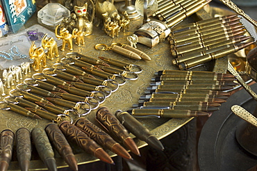 Used bullet shells made into tourist souvenir pens, Bascarsija market, Turkish quarter, Sarajevo, Bosnia, Bosnia-Herzegovina, Europe