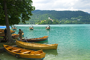 Rowing boats for hire, Lake Bled, Slovenia, Europe