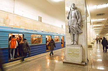 A statue of Zoya Kosmodemyanskaya, brave woman partisan fighter during WWII, at Partisanskaya metro station, Moscow, Russia, Europe