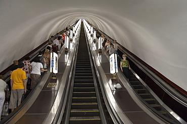 Metro escalator, Kiev, Ukraine, Europe