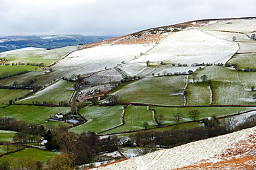 A wintry landscape at springtime in Powys, Wales, United Kingdom, Europe