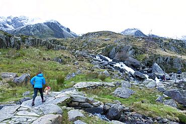 Hikers and climbers in Snowdonia National Park, Gwynedd, Wales, United Kingdom, Europe