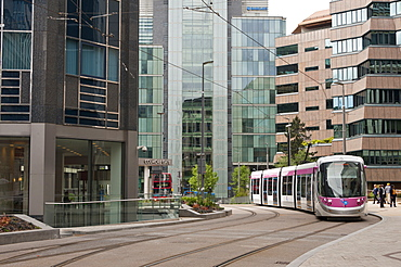 Tram system in Birmingham which runs from Birmingham to Wolverhampton, Birmingham, England, United Kingdom, Europe