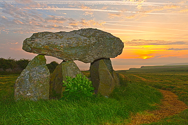 Carreg Samson Dolmen at sunrise, Abercastle, Pembrokeshire, Wales, United Kingdom, Europe