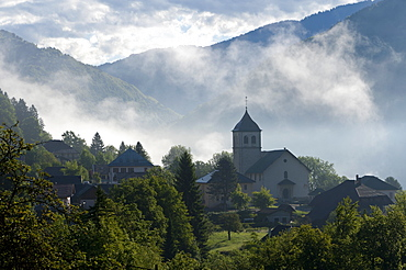 A morning view towards the village of Marthod, Savoie, France, Europe