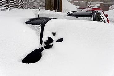 A blizzard hits the town of Brynmawr in Blaenau Gwent, Wales, United Kingdom, Europe