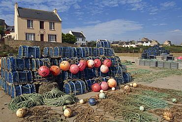 Nets stacked up at harbour side, village on coast, Molene Island, Bretagne (Brittany), France, Europe