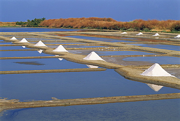 Salt pans in marshes, Ile de Re (Island of Re), Poitou Charentes, France, Europe