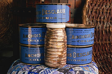 Jars and tins of anchovies, Desclaux factory, Collioure, Roussillon, France, Europe