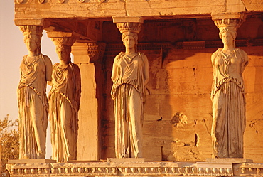 Caryatids Portico, figures of the Six Maidens, Erechtheion, Athens, Greece, Europe