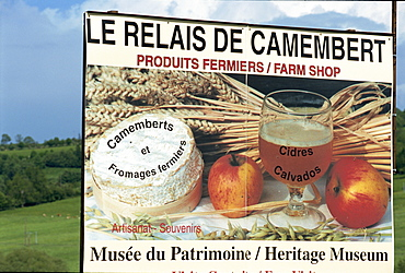 Cheese sign, Camembert, Normandie, France, Europe