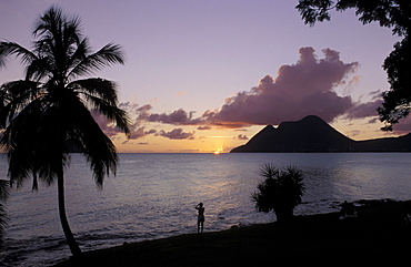Sunset, Morne Larcher, Baie de la Chery (Chery Bay), Martinique, West Indies, Caribbean, Central America