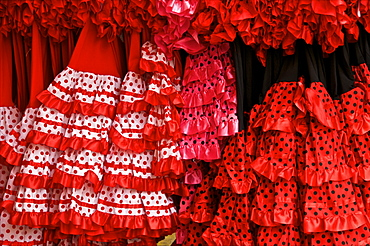 Flamenco dresses, Seville, Andalucia, Spain, Europe