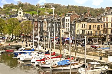 The Vieux Bassin, Old Town and boats moored along the quay, Honfleur, Calvados, Normandy, France, Europe