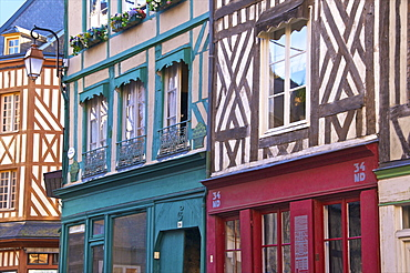 Typical half timbered Norman houses, Honfleur, Calvados, Normandy, France, Europe