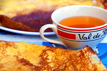 Typical Breton cider bowl, and pancake, Dinan, Cotes d'Armor, Brittany, France, Europe