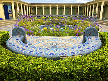 Mosaic bench in the Pompeian Baths and their basins, Deauville, Calvados, Normandy, France, Europe