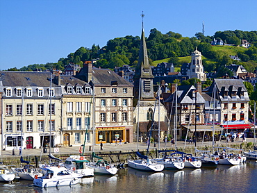 The Old Dock with pleasure boats moored, and St. Etienne Quay and church in the background, Honfleur, Auge, Normandy, France, Europe