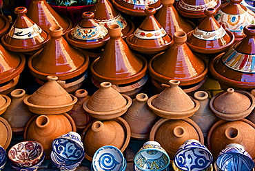 Earthenware tajines and bowls from Fez, for sale in the street of the Medina, Marrakech, Morocco, North Africa, Africa