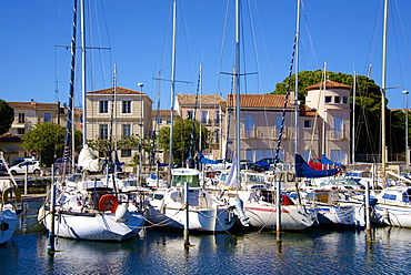 Marina and sail boats, Bouzigues, Thau basin, Herault, Languedoc, France, Europe