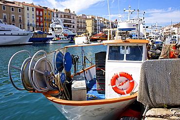 Fishing boat and fishing nets, Bouzigues, Thau basin, Herault, Languedoc, France, Europe