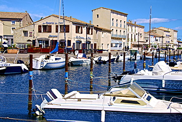 Tourist boats in marina in Marseillan harbor, Herault, Languedoc-Roussillon region, France, Europe