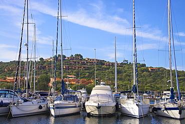Marina and perched village, Ottiolu harbour, Costa Degli Oleandri, Sardinia, Italy, Mediterranean, Europe
