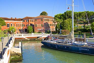 Armenian Monastery, San Lazzaro degli Armeni, and Armenian sail boat, Venice, UNESCO World Heritage Site, Veneto, Italy, Europe