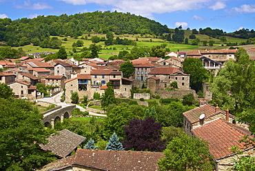 Panorama of Lavaudieu, a medieval village, Auvergne, Haute Loire, France, Europe