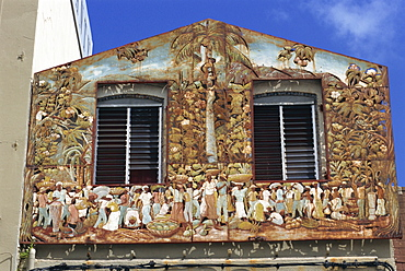 Painted house, Fort de France, Martinique, West Indies, Caribbean, Central America