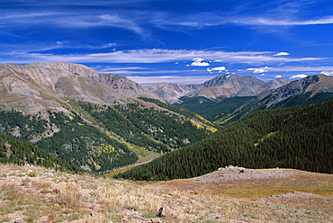 View from summit, Independence Pass, Colorado, United States of America (U.S.A.), North America
