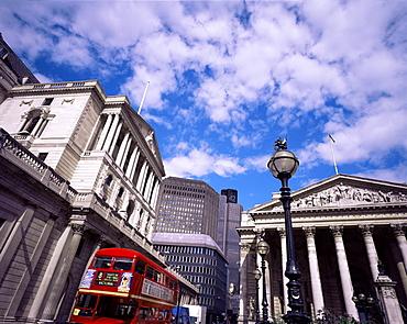 Bank of England and the Royal Exchange, City of London, London, England, United Kingdom, Europe
