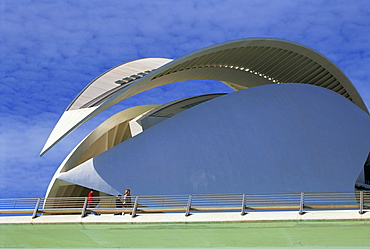 People on bridge, Palace of Arts, City of Arts and Sciences, Valencia, Spain, Europe
