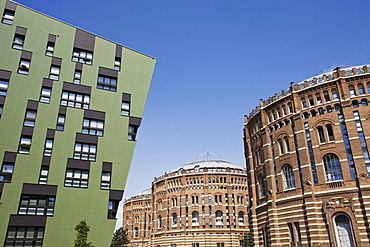 Green residential apartments and converted gasometers, Gasometer City, Simmering, Vienna, Austria, Europe