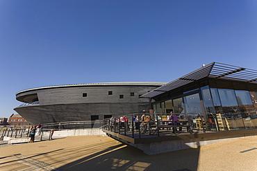 Cafe and the New Mary Rose Museum, HM Naval Base, Portsmouth Historic Dockyard, Portsmouth, Hampshire, England, United Kingdom, Europe