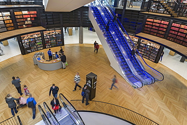 Interior of new Library of Birmingham, Centenary Square, Birmingham, West Midlands, England, United Kingdom, Europe