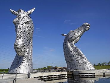 The Kelpies equine sculptures, Helix Park, Falkirk, Stirlingshire, Scotland, United Kingdom, Europe
