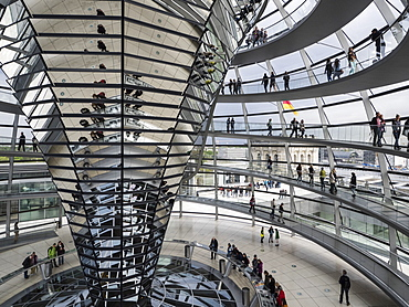 Interior of the Reichstag Dome, Berlin, Germany, Europe