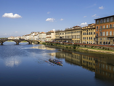 Rowers on the River Arno, Florence, Tuscany, Italy, Europe