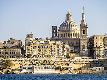 View approaching Valletta from the ferry, Valletta, Malta, Mediterranean, Europe
