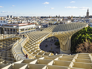 City view from the Metropol Parasol, Seville, Andalucia, Spain, Europe
