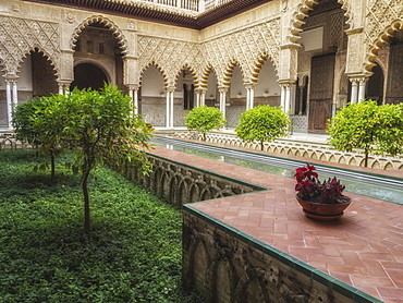 Courtyard, Real Alcazar (Royal Palace), UNESCO World Heritage Site, Seville, Andalucia, Spain, Europe