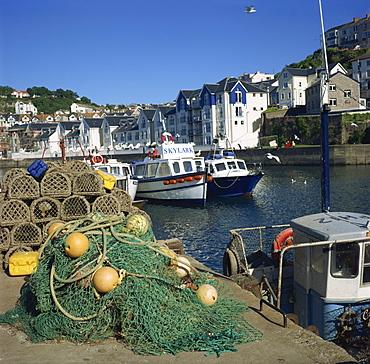 Nets on quayside, Brixham harbour, Devon, England, United Kingdom, Europe
