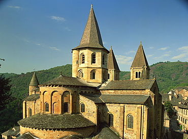 Exterior of the abbey of Ste. Foy, Conques, Midi Pyrenees, France, Europe