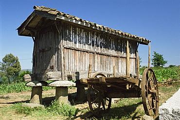 Horreo, a traditional grain store, Santillana del Mar, near Gijon, Asturias, Spain, Europe
